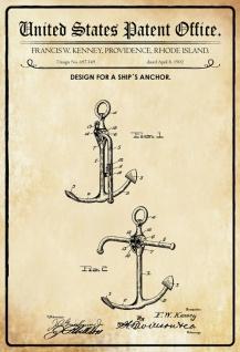 US Patent Office - Design for A Ship's Anchor - Entwurf für ein Schiffsanker - Kenney, Rhode Island 1902 - Design No 697.149 - Blechschild