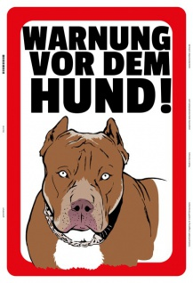 Blechschild Warnung vor dem Hund! Metallschild Wanddeko 20x30 tin sign