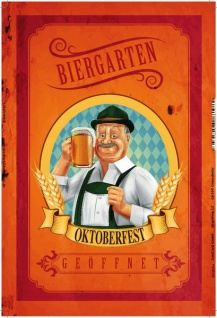 Biergarten Geöffnet, oktoberfest, bayern, Mann mit bier, blechschild