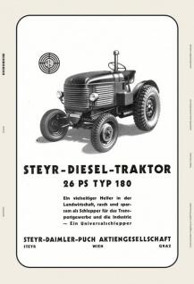 Steyr 180 26 Ps traktor Trekker Schlepper blechschild