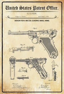US Patent Office - Design for a recoil Loading Small Arms - Entwurf für einen Rückstoß Kleinwaffe -Luger, 1904 - Design No 753.414 - Blechschild