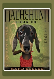 Blechschild Hund Dachshund Cigar Dackel Metallschild Wanddeko 20x30 cm tin sign