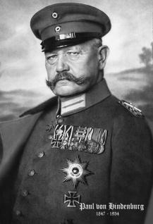Retro: Paul von Lindenburg Portrait 1847-1934 (Schwarz-Weiß) Blechschild 20x30 cm