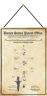 Blechschild Patent Entwurf für ein Krocketspiel Metallschild 20 x 30 m.Kordel