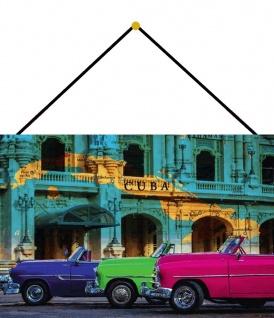 Blechschild Cuba Karte auf Häuserwand & 3 Autos Metallschild Deko 20x30 m.Kordel