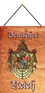 Blechschild Deutsches Reich bayerisches Wappen Metallschild Deko 20x30 m.Kordel
