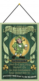 Blechschild Lucky Leprechaun Irish Pub Metallschild Deko 20x30 mit Kordel
