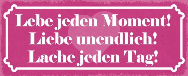 Blechschild Spruch Lebe jeden Moment! Liebe unendlich! Lache jeden Tag! Metallschild 27x10 Deko tin sign