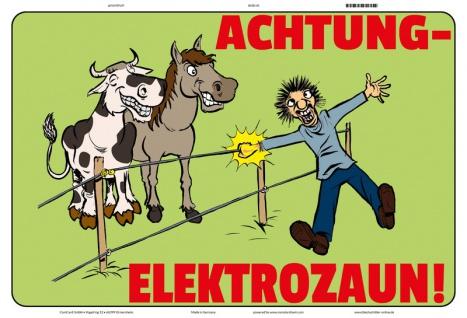 Blechschild Warnschild Achtung Elektrozaun! Metallschild 20x30 tin sign