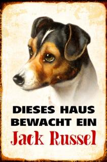 Blechschild Hund Dieses Haus bewacht Jack Russel Metallschild Wanddeko 20x30 cm tin sign