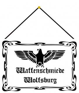 Blechschild Nostalgie Waffenschmiede Wolfsburg Adler Deko 20x30 cm mit Kordel