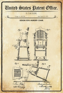 US Patent Office - Design for A Nursery Chair - Entwurf für ein Kinderstuhl - Caulier, 1878 - Design No 202.788 - Blechschild