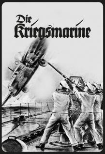 Blechschild Retro Die Kriegsmarine (Soldaten auf Schiff mit Flugzeug s/w) Metallschild Wanddeko 20x30cm tin sign