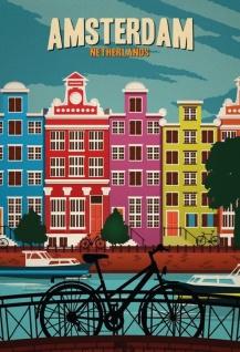 Blechschild Amsterdam Netherland (Fahrrad) Metallschild Wanddeko 20x30 tin sign