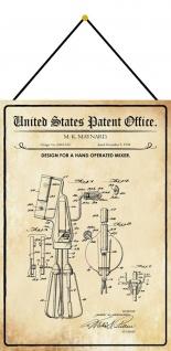 Blechschild Patent Entwurf für Handmixer Metallschild Deko 20 x 30 m.Kordel