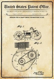 Blechschild Patent Entwurf Wellenantrieb- Motorräder Weaver Meallschild tin sign