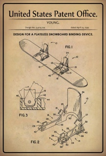 US Patent Office - Design for a Snowboard Binding device - Entwurf für einen Snowboard-Bindungsvorrichtung - 1995 - Young - Design No 5.409244 - Blechschild