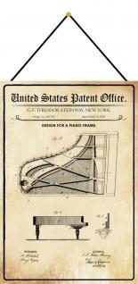 Blechschild Patent Entwurf für ein Klavier-Rahmen Frane Deko 20 x 30 m.Kordel