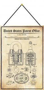 Blechschild Patent Entwurf für ein Vorhängeschloss Metallschild 20 x 30 m.Kordel