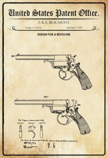 US Patent Office - Design for A Revolver - Entwurf für einen Revolver - Beaumont, 1858 - Design No 15.032 - Blechschild