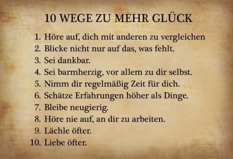 10 Wege zu mehr Glück Spruchschild Metallschild Wanddeko 20x30 cm tin sign