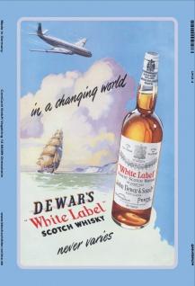 Dewars White Label Scotch Whisky Schiff Flugzeug Blechschild