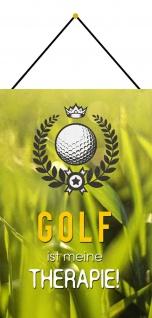 Blechschild Spruch Golf ist meine Therapie Metallschild Wanddeko 20x30 m. Kordel