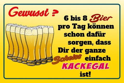 Blechschild Spruch Gewusst? 6 bis 8 Bier pro Tag...einfach Kackegal ist! Metallschild Wanddeko 20x30 cm tin sign