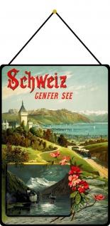Blechschild Schweiz Genfer See Metallschild Deko 20x30 tin sign mit Kordel