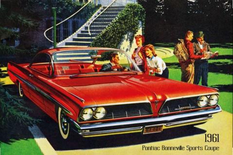 Pontiac Bonneville Sports Coupe 1961 Auto reklame blechschild, us, rot, sportswagen