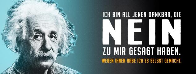 Blechschild Einstein: Jenen dankbar, die Nein gesagt haben Metallschild Wanddeko 27x10 cm tin sign