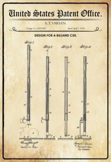 Blechschild Patent Entwurf für Billardstock- Varian Metallschild Wanddeko 20x30 cm tin sign