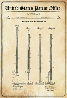 US Patent Office - Design for a Billiard Cue - Entwurf für ein Billardstock - Varian, 1914 - Design No 1.092.189 - Blechschild