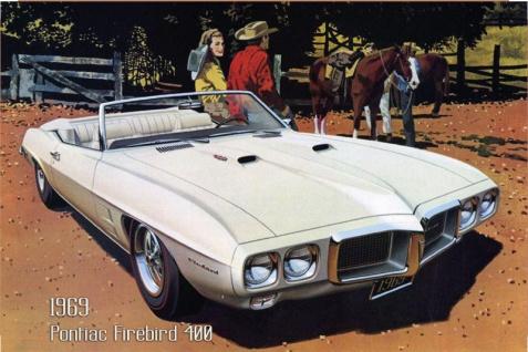 Pontiac Firebird 400 1969 Auto reklame blechschild, us, weiss, sportwagen, cabriolet