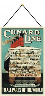 Blechschild Cunard line Schiff Durchschnitt Metallschild Deko 20x30 mit Kordel