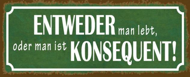 Blechschild Spruch man lebt Konsequent Metallschild 27x10 cm Wanddeko tin sign