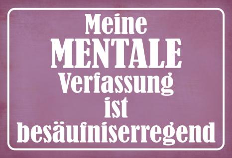 Blechschild Spruch Mentale Verfassung = besäufniserregend Metallschild 20x30 Deko