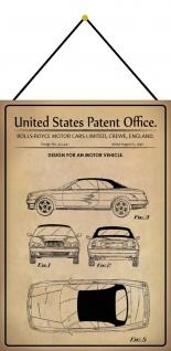Blechschild Patent Entwurf Kraftfahrzeug Limousine Metallschild 20 x 30 m.Kordel