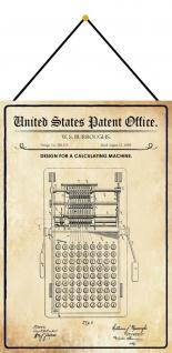 Blechschild Patent Entwurf für eine Rechnungsmachine Metallschild 20 x 30 Kordel