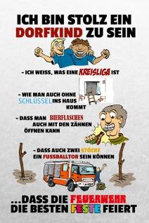 """"""" Stolz ein Dorfkind zu sein?feuerwehrfest.."""" blechschild, lustig, comic, metallschild"""