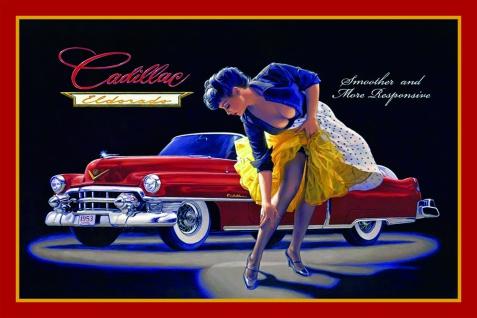 Cadillac Eldorado mit pinup / pin up sexy girl erotik blechschild