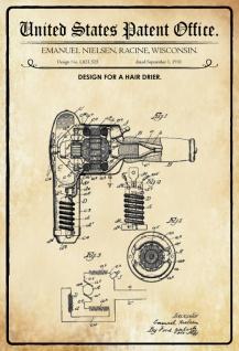 Blechschild Patent Entwurf für ein Haarfön-Nielsen Metallschild Wanddeko 20x30 cm tin sign - Vorschau 1