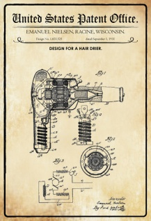US Patent Office - Design for A Hair Dryer - Entwurf für ein Haarfon - Nielsen, Wisconsin, 1931 - Design No 1.821.535 - Blechschild