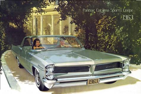 Pontiac Catalina Sports Coupe 1963 Auto reklame blechschild, us, grün