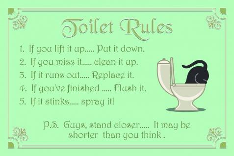 Toilet rules, klo ordnung, lustig blechschild