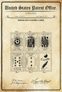 US Patent Office - Design for Playing Cards - Entwurf für Karten - Billings, 1873 - Design No 142.075- Blechschild