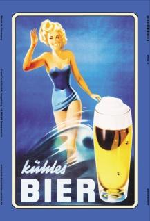 Nostalgie: Kühles Bier Pin up Blechschild 20x30 cm