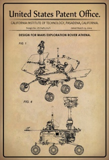 US Patent Office - Design for Mars Exploration Rover Athena - Entwurf für Mars Exploration Rover Athena - California Institute Technology 2004 - Design No US D487.715 S - Blechschild