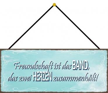 Schatzmix Blechschild Freundschaft ist Band, das 2 Herzen Metallschild 27x10 cm mit Kordel - Vorschau