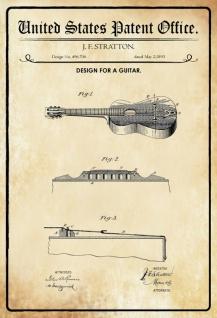 Blechschild Patent Entwurf für ein Gitarre-Stratton Metallschild Wanddeko 20x30 cm tin sign